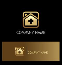 hospital medic gold logo vector image vector image