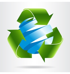 Recycle arrows and abstract blue sphere vector