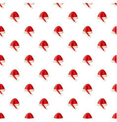 red christmas hat pattern vector image vector image