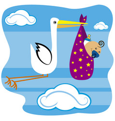 stork flying with baby vector image