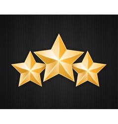 Three golden star on black textured background vector image vector image