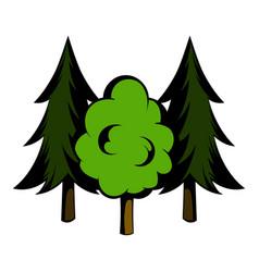 Three tree icon cartoon vector