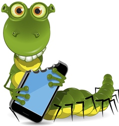 worm with the device vector image