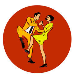 a couple dancing swing vector image