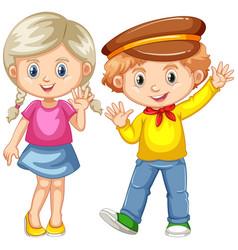 boy and girl waving hands vector image vector image