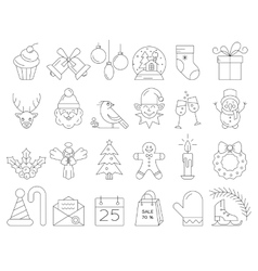Christmas line icons vector