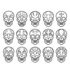 mexican sugar skull icon set vector image vector image