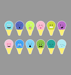 set of ice cream with color cream and different vector image vector image