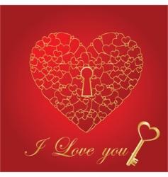 shiny heart card vector image vector image