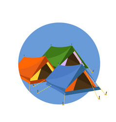 tents on blue circle vector image vector image