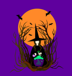 witch hat preparing a magical potion vector image