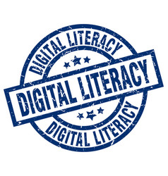 Digital literacy blue round grunge stamp vector