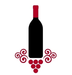 isolated wine bottle with decorative grape vector image