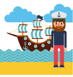 cartoon captain sailor in uniform with the ship vector image