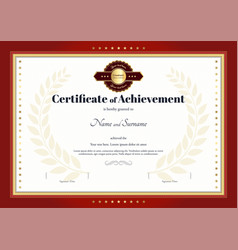 certificate of achievement template red border vector image vector image