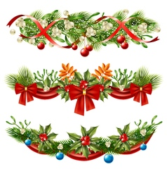 Christmas berry branches decoration set vector