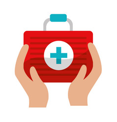 first aid kit tool in the hands vector image vector image