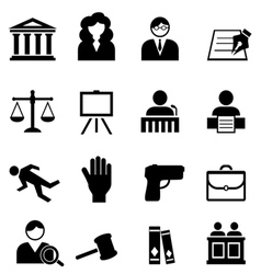 Justice law and legal icons vector