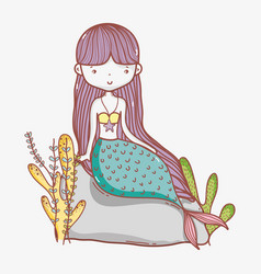 little mermaid cute cartoon vector image