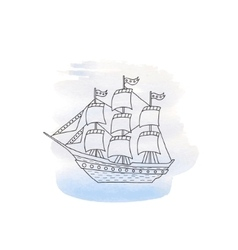 Ship with sails on watercolor background vector image