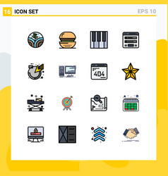 16 user interface flat color filled line pack of vector