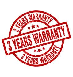 3 years warranty round red grunge stamp vector image