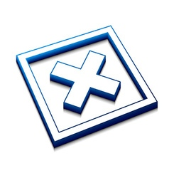 3d cross mark icon vector