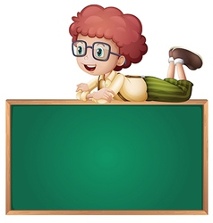 A boy at the top of a board vector