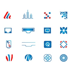 Abstract technology icons set vector
