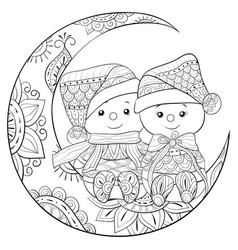 adult coloring bookpage a pair of snowmen on the vector image