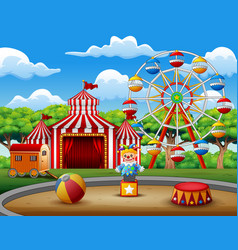 amusement park background on the nature vector image