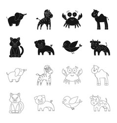 An unrealistic blackoutline animal icons in set vector