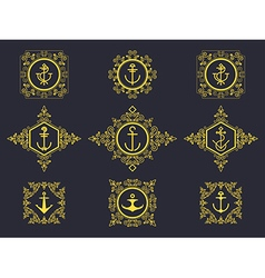 Anchors set luxury vector