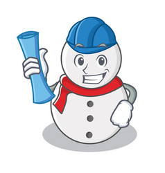 Architect snowman character cartoon style vector