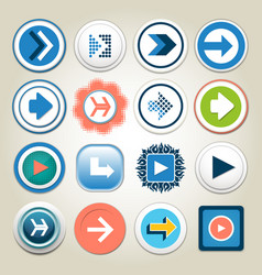 Arrow 3d button icon set vector