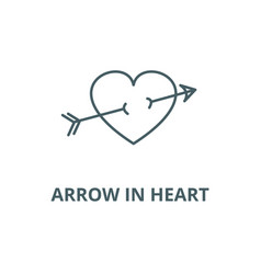 arrow in heart line icon arrow in heart vector image