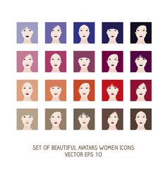 avatars women icons-02 vector image