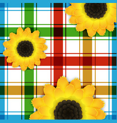 Background with sunflowers and square pattern vector