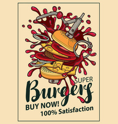 banner with cheeseburger in retro style vector image