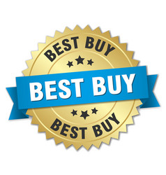 Best buy 3d gold badge with blue ribbon vector