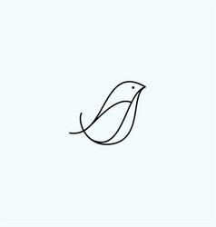 Bird logo line outline monoline vector
