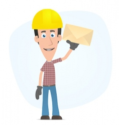 Builder standing with a letter vector