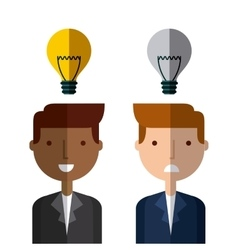 Businessman with bulb light icon vector