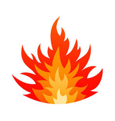 cartoon blazing fire flame safety sign concept vector image