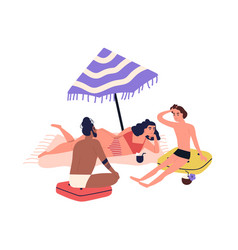 cartoon people sunbathing on beach in bikini vector image