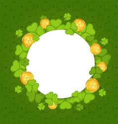 celebration card with shamrocks and golden coins vector image