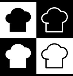 chef cap sign black and white icons and vector image