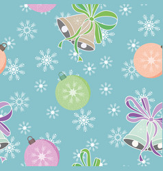 christmas balls and bells seamless pattern vector image