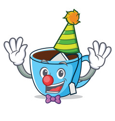 Clown tea cup mascot cartoon vector