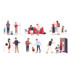 collection of spouses or romantic partners during vector image
